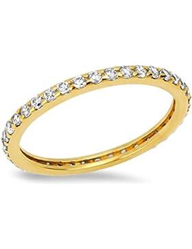 Goldring Gold 585 Gelbgold 14K Memory - Memoire - Damen Ring Gr 48 - 60 Band Weiß Zirkonia