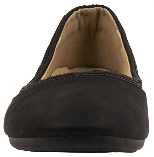 Elara Damen Ballerina | Hochwertige Glitzer Slipper | Flats Slip-Ons Schwarz Basic