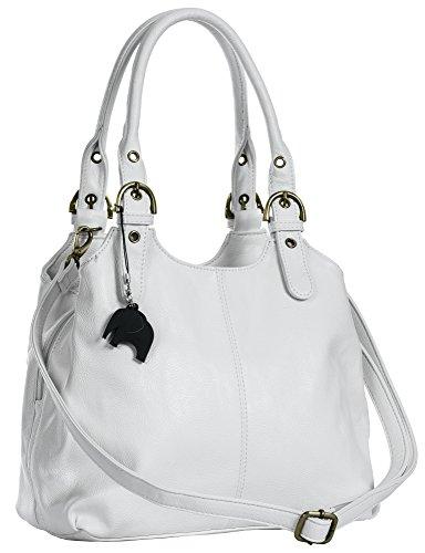 Big Handbag Shop BHSL Mehrfachtaschen Mittlere Größe Umhängetasche/Schultertasche für Frauen - Mit langem Schulterriemen und eine kleine Taschencharme (Weiß (Plain S105))