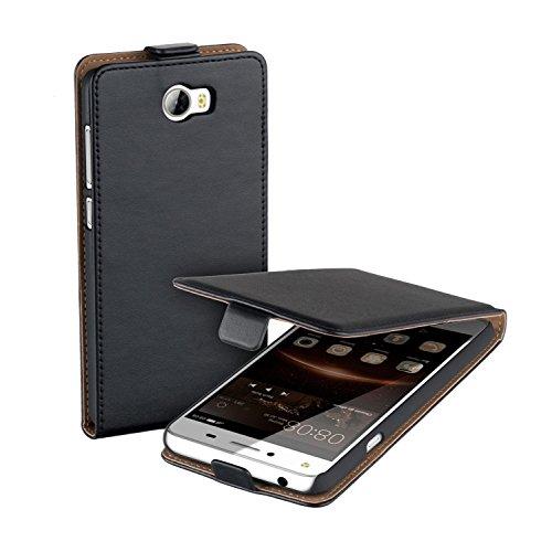 yayago Flip Tasche für Huawei Y5 2 / Huawei Y6 2 Compact Schutzhülle Flip Case Hülle Klapphülle Schwarz