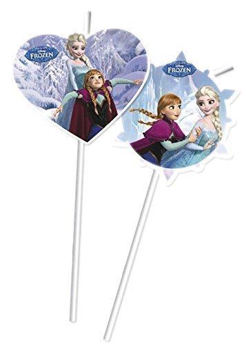 6Pailles Reine des neiges * * pour les enfants anniversaire ou fête à thème fête d'anniversaire des enfants//Boire Devise paille paglie Disney Elsa Anna Olaf Patins la reine de glace