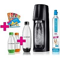 SodaStream Easy Wassersprudler-Set Vorteilspack mit CO2- Zylinder, 1 L PET-Flasche, 2x 0,5 L PET-Flasche, 6x Sirupproben, schwarz