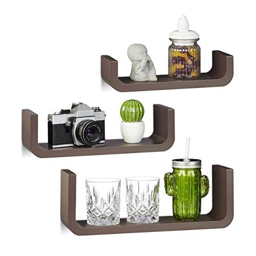 Dekorative Holz (Relaxdays Wandregal 3er Set, dekorative U-form Wandboards, kleine Holz-Regalbretter 10 cm tief, bis 40 cm breit, braun)