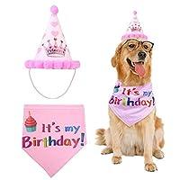 Yababllj Dog Birthday Bandana Pet Birthday Scarfs and Birthday Party Hat Pet Birthday Gift Decorations Set- Pink