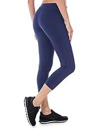 SYROKAN Femme Legging Sport Collant Capri de Running Pure Lime Fitness Pantalon