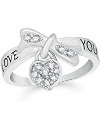 VK Jewels Love You Leafy Diamond Studded Rhodium Plated Alloy CZ American Diamond Finger Ring For Women & Girls...