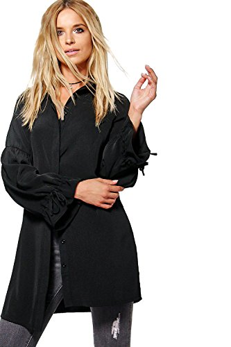 Femmes noires Mandy Tie Cuff palangre Shirt Noir