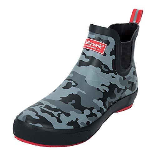 ZooBoo Unisex Regenstiefel Halbstiefel Regenschuhe - Regenschutz Outdoor Gummistiefel Stiefeletten Rutschfest Gummi-Sohle Stretcheinsatz Atmungsaktiv Modisch für Männer Frauen (45 EU, Tarnung)