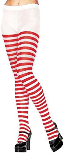 Wo Frauen Wally Kostüm Ist - DAMEN ROT & WEIß STREIFEN BLICKDICHTE STRUMPFHOSE SOCKEN FACNY KLEID ZUBEHÖR WO IST - Damen, Rot & Weiß Gestreifte Strumpfhosen, Einheitsgröße