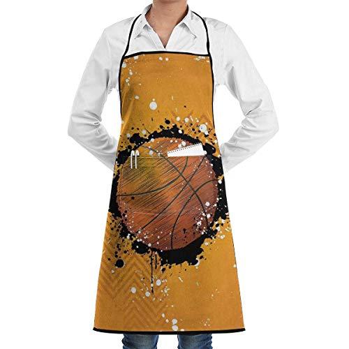 NA Basketball Paint Splashes Abstract Orange Chef Schürze mit Taschen Grill Schürzen für Frauen Männer Küche