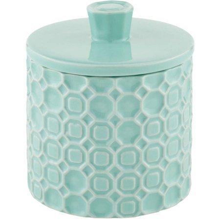 Mainstays 3.46 x 3.46 x 3.54 Groovy Medallion Ceramic Covered Jar by Mainstays Covered Jar