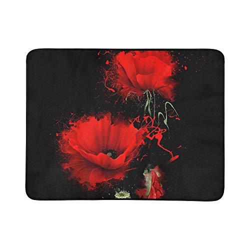 Mohn Roten Teppich (KAOROU DREI rote Mohnblume auf schwarzer tragbarer und Faltbarer Deckenmatte 60x78 Zoll-handliche Matte für kampierende Picknick-Strand-Indoor-Reise im Freien)