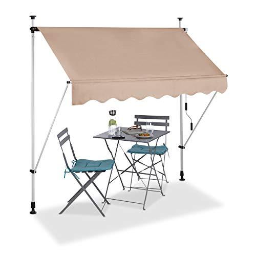 Relaxdays Klemmmarkise, Balkon Sonnenschutz, einziehbar, Fallarm, ohne Bohren, höhenverstellbar, 200 cm breit, beige