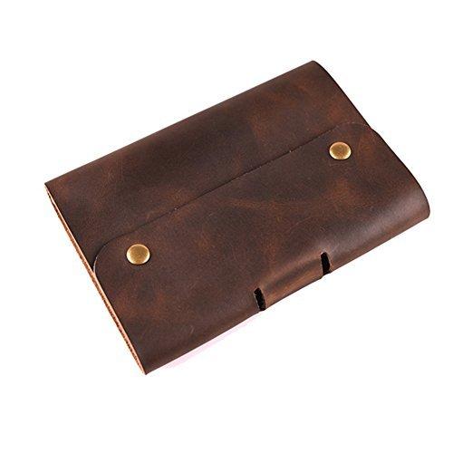 QEES Notizbuch Tagebuch aus erstklassigem Echt-Leder Handgefertigt Klassich Retro Für Bürobedarf Reise Künstler Journalist unliniert BJB01