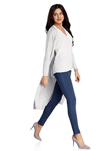 oodji Ultra Damen Jersey-Leggings mit Kunstledereinsatz Blau (7500N)