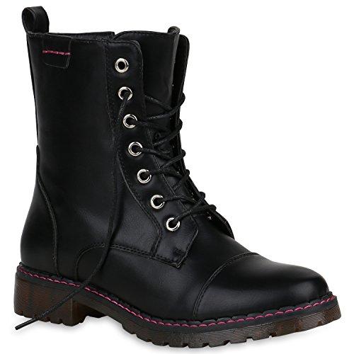 l Schnürstiefeletten Profilsohle Stiefeletten Schuhe 147898 Schwarz Schnürer 39 Flandell (Schwarze Kurze Stiefel)