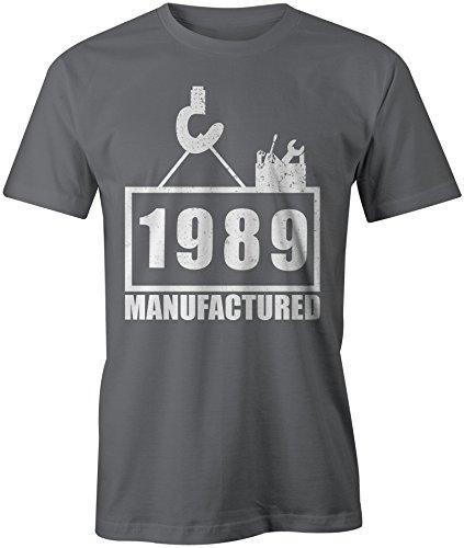 Manufactured 1989 - Rundhals-T-Shirt Männer-Herren - hochwertig bedruckt mit lustigem Spruch - Die perfekte Geschenk-Idee (06) dunkelgrau