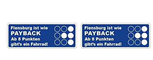 Flensburg ist wie Payback Aufkleber 15cm ab 8 Punkten gibt\'s ein Fahrrad Polizei Strafe Warnung Sticker / Plus Schlüsselringanhänger aus Kokosnuss-Schale / Auto Motorrad Laptop Windows Führerschein