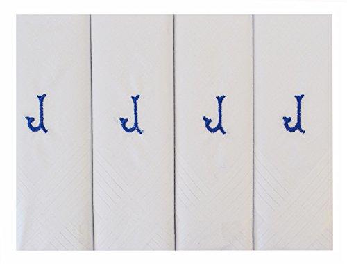 Pack de 4 initiale mouchoirs blancs brodés GentleMen hommes avec bordure Satin, diverses lettres Initiale - J