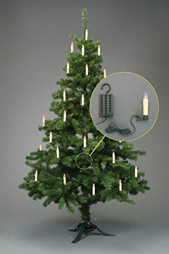 24 LED Weihnachtskerzen Lichterkette Stecksystem Außenbereich weiss leuchtend TG340047