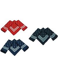 Betz 3er Pack Nickituch Bandana Kopftuch Halstuch klassischem Punktemuster Größe 55 x 55cm 100% Baumwolle Farben: rot, marine und schwarzblau