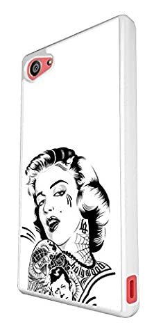 1554 - Cool trendy fun cute Marilyn Monroe Tattoo Hair fashion Design Sony Xperia Z5 Compact / Mini Coque Fashion Trend Case Coque Protection Cover plastique et métal - Blanc