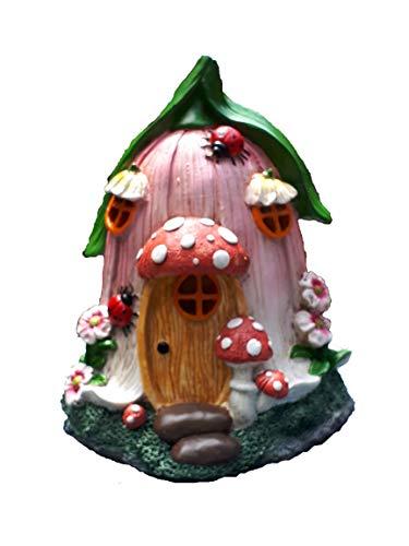 Mystic Garden Gartenhaus aus Kunstharz Tulpenmotiv Lichterkette für den Innen- und Außenbereich für Blumengärten, Pflanzgefäße, Fensterkästen, Terrarium oder Hof. -