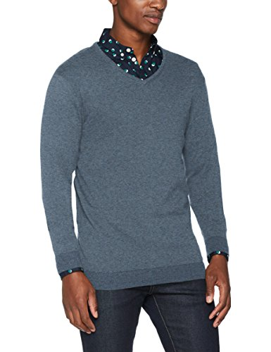 SELECTED HOMME Herren Pullover Shdtower Cot/Silk V-Neck Noos, Blau (Blue Mirage), X-Large (Blue V-neck-gerippte)