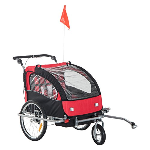HOMCOM 2 in 1 Multifunctional Bicycle Child Carrier Baby Trailer Stroller Jogger Kit in Steel Frame (Black and Red)