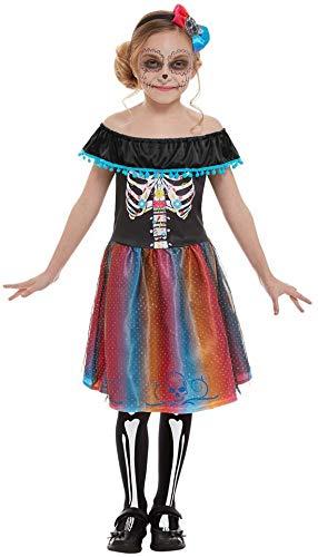 Fancy Ole - Mädchen Girl Kinder Day of The Dead Kostüm im Knochen Skelett Look, Kleid mit Haarschmuck, perfekt für Halloween Karneval und Fasching, 122-134, Schwarz (Girl Dead Kostüm)