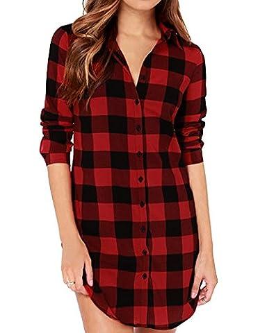 Romacci Women Cotton Plaid Shirt Dress Long Sleeve Irregular Plus