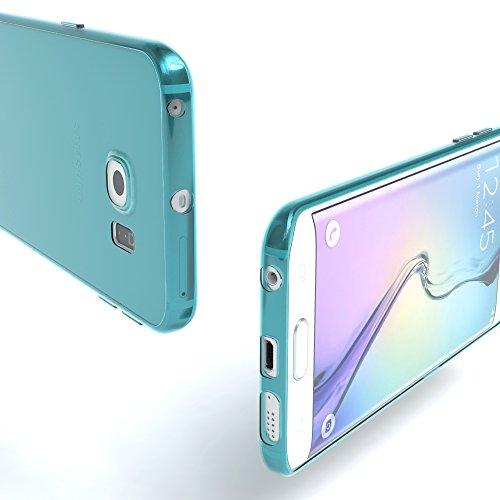 Samsung Galaxy S6 Edge Hülle - EAZY CASE Ultra Slim Cover Handyhülle - dünne Schutzhülle aus Silikon in Schwarz / Anthrazit Clear Hellblau