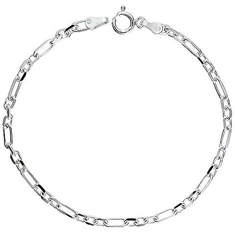 Sterling Silver Italian Diamond Cut Figaro-Cable Chain Bracelet 3 mm wide Nickel Free, size 20 CM Long
