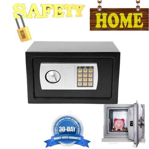 Digitaler Stahl-Tresor, Geldkassette, Geldkassette, wasserdicht, für Zuhause, zur Wand- oder Bodenmontage, 8,5 l, Schwarz