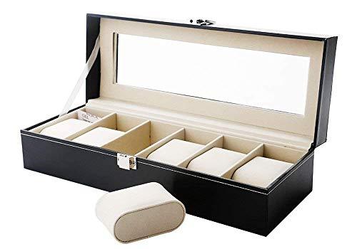 Mbuynow Uhrenkasten 6 Uhren Uhrenbox Uhrenkoffer, Schaukasten Uhrenkasten Uhrenvitrine für 6 Uhren aus kunstleather Uhrenkasten Herren Armbanduhr Box uhrenbox 6...