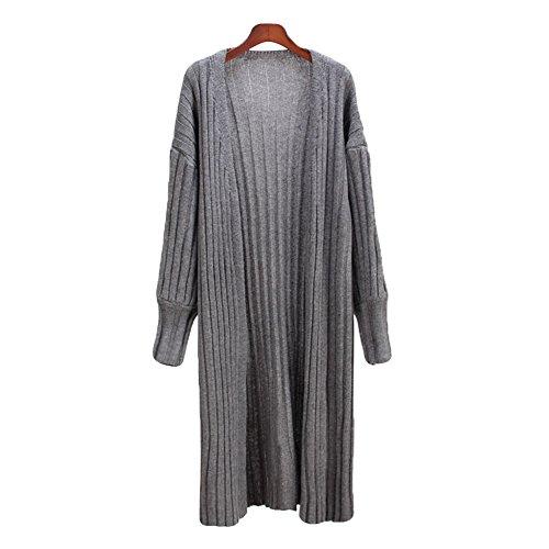 Zerlar Femme Open Front à Manches Longues Cardigan Coat Maxi Sweater Jacket Gris foncé