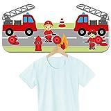 Kindergarderobe für Jungen und Mädchen Motiv Feuerwehr / 30 x 16 x 1 cm / aus Stabiler Hartschaumplatte / mit 3 Haken