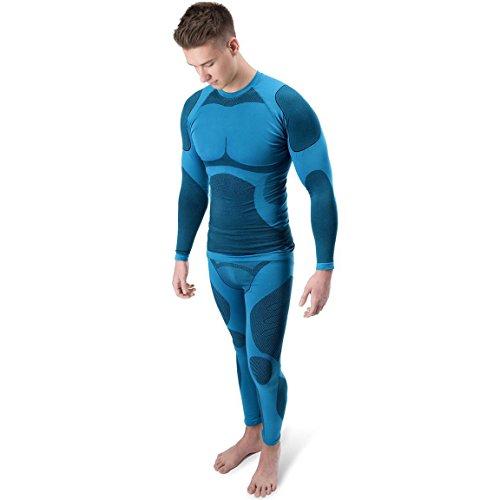 Funktionsunterwäsche Herren Thermo Unterwäsche lange Unterhose + langarm Unterhemd Seamless BlackSnake® Blau M/L (Mountainbike-shirts Für Männer)