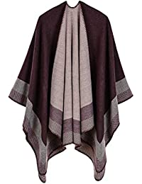 Jisen Women Geometric Stitching Shawl Warm Elegant Soft Wrap Sweater  Suitable for Winter Autumn Spring ab191571e