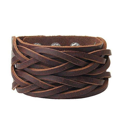 Irugh bracciale di perline a mano gioielli vacanza regalo personalità retrò ampia pelle intrecciata bracciale