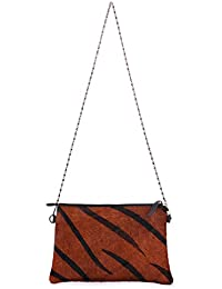 Trysco Classy Genuine Leather Tiger Print Sling Bag For Women & Girls (Color Tan)