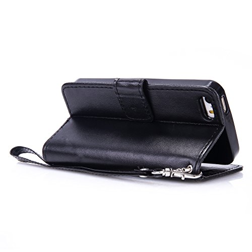 IPhone 5S SE cas avec courroie Courroie Card Cash Slots Premium PU Leather Case Wallet Case Embossed cas papillon pour IPhone 5S 5 SE ( Color : Black , Size : IPhone 5S SE ) Black