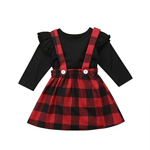 Baby T-Shirt Strap Kleid Weihnachten Outfits 2 Teile/Satz Kleinkind Mädchen Langarm Rüschen Top Overall Plaid Rock Kleidung Set (3-4 Jahre) (6-12 Monate, Lange Ärmel)