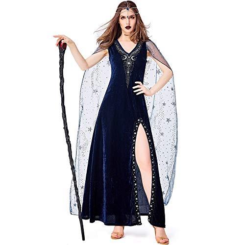 Blaue Göttin Kostüm - Idollcg kostum,Halloween Kostüm Cosplay Kostüm Halloween Party Kostüme Damen Blue Star Bühnenkostüm Sexy Halloween Kostüme For Damen kostum (Color : Blue, Size : XL)