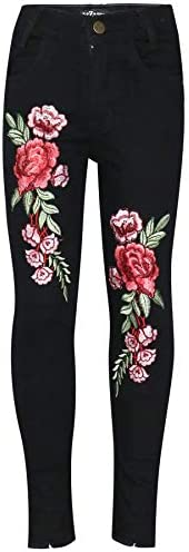 A2Z 4 - Pantalones vaqueros elásticos para niños y niñas, diseño de rosas bordadas, pantalones de mezclilla de
