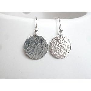 fein gehämmerte Plättchen Dot 925 Sterling Silber Ohrhänger Ohrringe 13mm Durchmesser