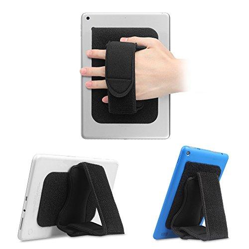 Fintie Handriemen-Halterung für Universal Tablet [Doppelständer] Abnehmbarer, gepolsterter Klett-Griff mit Klebepatch für die Befestigung von Schlaufe für iPad/Samsung und alle 7-11