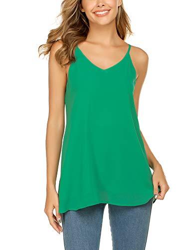 Beyove Damen Ärmellose Bluse Chiffon V-Ausschnitt Elegant Weste Top Hemdbluse Doppelschicht Sommer Loose fit T Shirt (M, Grün) -