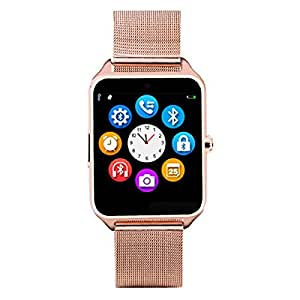 Bastex Z60 Golden Smartwatch / Watchphone with bluetooth Compatible With Micromax Canvas Amaze 2 Mobiles