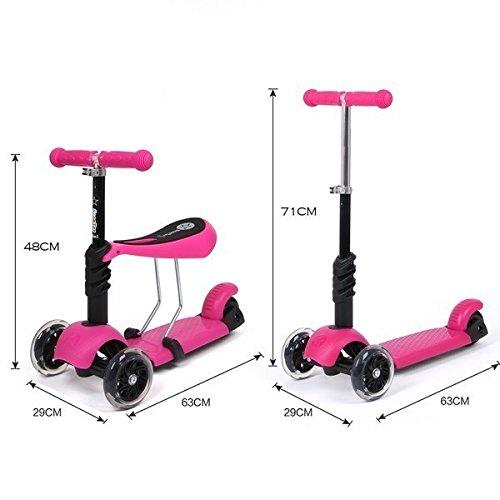Monopatín para niños con ruedas de luces intermitentes, multifuncional 3 en 1, con asiento desmontable, para niños de 2 a 8 años, rosa